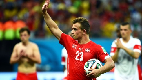 Look who came to play! Xherdan Shaqiri waves to fans after his hat-trick against Honduras that took the Swiss to the knockout stages (Stu Forster/Getty).