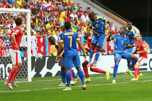 Enner Valencia powers it home for the opening goal of the match.
