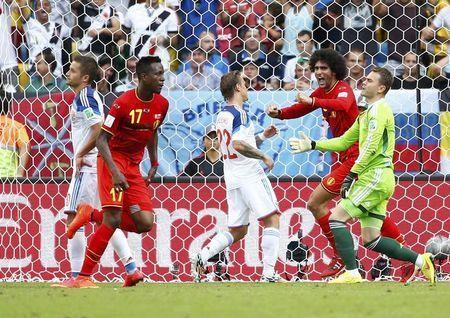 Belgium's Divock Origi celebrates after scoring a goal during their 2014 World Cup Group H soccer match against Russia at the Maracana stadium in Rio de Janeiro