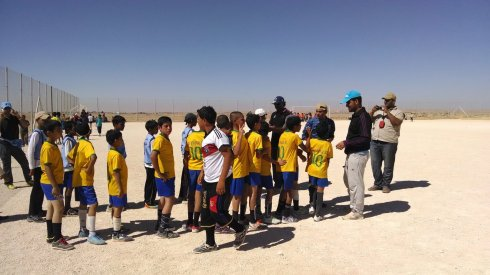 A soccer tournament in the Za'atari refugee camp, complete with donated Brazil jerseys.