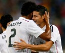 Real Madrid's Varane and Rodriguez celebrate a goal against Cornella during their Spanish King's Cup soccer match at the Cornella-El Prat Stadium near Barcelona