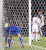 Real Madrid celebrate after scoring