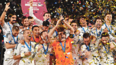 Trophy and confetti