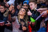 Marta takes a selfie for a fan