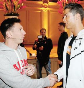 Messi and Ronaldo shake hands