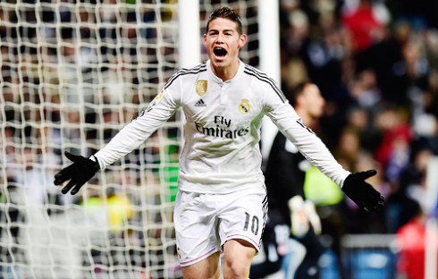 James celebrates goal
