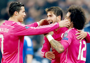 Marcelo celebrates with Silva and Cris