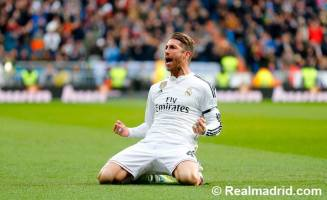 Ramos celebration on his knees