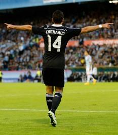 Chicharito celebrates scoring