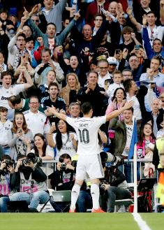 James celebrates scoring v Almeria