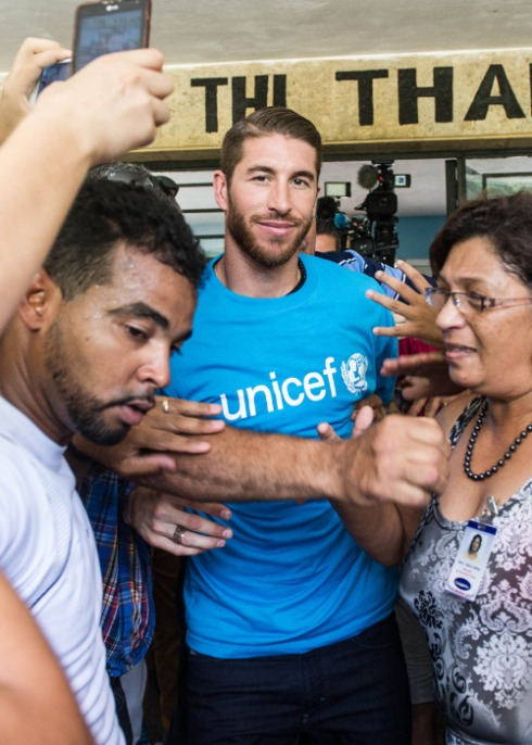 16 Jun 2015, Miami, Florida, USA --- The Spain international was the latest celebrity to visit the communist island, in his role as ambassador for UNICEF. He visited projects for disadvantaged children in the capital of Havana. His visit comes just days after the New York Cosmos - featuring former Real Madrid superstar Raul - took part in a historical match against the Cuban national soccer team. Pictured: Sergio Ramos --- Image by © Splash News/Splash News/Corbis