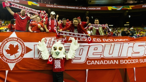 MONTREAL, QC - JUNE 15:  Shueme the mascot poses for photos with fans during the 2015 FIFA Women's World Cup Group A match between Canada and the Netherlands at Olympic Stadium on June 15, 2015 in Montreal, Quebec, Canada.  Final score between Canada and the Netherlands 1-1. (Photo by Minas Panagiotakis/Getty Images)