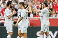 Celebrating Gareth's goal