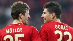 MUNICH, GERMANY - APRIL 17: (L-R) Thomas Mueller and Mario Gomez of Bayern laugh after winning 2-1 the UEFA Champions League Semi Final first leg match between FC Bayern Muenchen and Real Madrid at Allianz Arena on April 17, 2012 in Munich, Germany. (Photo by Christof Koepsel/Bongarts/Getty Images)