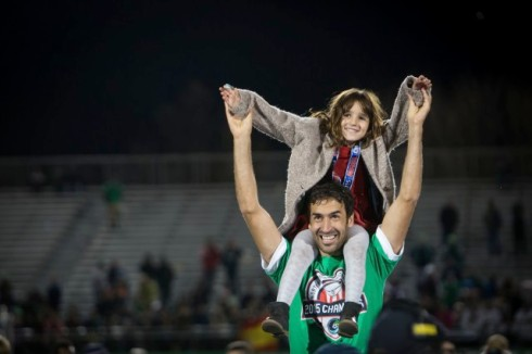 15 Nov 2015, Hempstead, Long Island, New York State, USA --- New York Cosmos Raul (7) celebrates being champions after the Soccer, 2015 NASL Championship Match between New York Cosmos and Ottawa Fury FC on November 15, 2015 at James M Shuart Stadium in Hempstead, NY, USA. The New York Cosmos won the match with a score of 3-2. Photo © Ira L. Black --- Image by © Ira L. Black/Ira L. Black Photography/Corbis