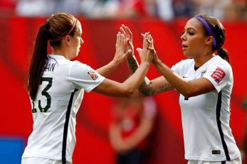 Jun 16, 2015; Vancouver, British Columbia, CAN; United States forward Alex Morgan (13) is substituted out for forward Sydney Leroux (2) during the second halfagainst Nigeria in a Group D soccer match in the 2015 FIFA women's World Cup at BC Place Stadium. Mandatory Credit: Michael Chow-USA TODAY Sports