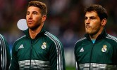 AMSTERDAM, NETHERLANDS - OCTOBER 03: Iker Casillas (R) Pepe (L) and Sergio Ramos (C) of Real line up prior to the UEFA Champions League Group D match between Ajax Amsterdam and Real Madrid at Amsterdam Arena on October 3, 2012 in Amsterdam, Netherlands. (Photo by Dean Mouhtaropoulos/Getty Images)