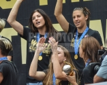 07/07/2015 - Hope Solo and Carli Lloyd - U.S. Women's National Team Official Championship Rally at L.A. Live's Microsoft Square in Los Angeles - July 7, 2015 - LA Live's Microsoft Square - Los Angeles, CA, USA - Keywords: women's soccer, championship rally, world champions, gold medal, world cup, USA Soccer, Women's sports, International soccer, 2015 FIFA Women's World Cup, FIFA Women's World Cup Orientation: Portrait Face Count: 1 - False - Photo Credit: Steve Solis / PRPhotos.com - Contact (1-866-551-7827) - Portrait Face Count: 1