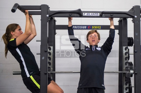 Winnipeg, Canada- June 3, 2015: The USWNT lifted weights during training for the FIFA Women's World Cup.