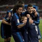 Celebrating Modric goal