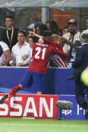 Yannick Carrasco of Club Atletico de Madrid celebrate kissing during the UEFA Champions League final match between Real Madrid and Atletico Madrid on May 28, 2016 at the Giuseppe Meazza San Siro stadium in Milan, Italy.(Photo by VI Images via Getty Images)