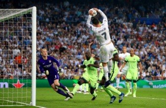 May 4, 2016 - Madrid, United Kingdom - Real Madrid's Cristiano Ronaldo handles the ball into the goal following an offside call during the UEFA Champions League Semi Final, Second Leg match at the Santiago Bernabeu, Madrid. (Credit Image: � Nick Potts/PA Wire via ZUMA Press)