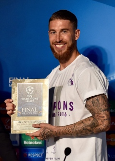 MILAN, ITALY - MAY 28: Sergio Ramos of Real Madrid, players of the match, after the UEFA Champions League Final between Real Madrid and Club Atletico de Madrid at Stadio Giuseppe Meazza on May 28, 2016 in Milan, Italy. (Photo by Valerio Pennicino - UEFA/UEFA via Getty Images)
