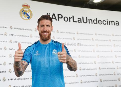 Sergio Ramos: 1/2 Illustrated Man, 1/2 Actual billy goat, All thumbs up