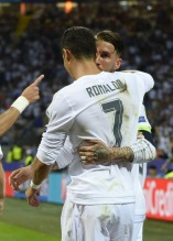 Sergio and Cris celebrate the goal