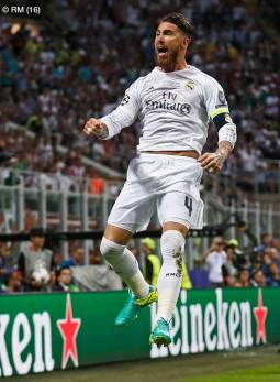 Sergio celebrates scoring