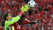 Switzerland's goalkeeper Yann Sommer (L) and Switzerland's defender Johan Djourou jump for the ball during the Euro 2016 group A football match between Switzerland and France at the Pierre-Mauroy stadium in Lille on June 19, 2016. / AFP / KENZO TRIBOUILLARD (Photo credit should read KENZO TRIBOUILLARD/AFP/Getty Images)