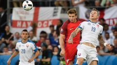 England's midfielder Eric Dier (L) vies with Slovakia's midfielder Juraj Kucka (R) during the Euro 2016 group B football match between Slovakia and England at the Geoffroy-Guichard stadium in Saint-Etienne on June 20, 2016. / AFP / jeff pachoud (Photo credit should read JEFF PACHOUD/AFP/Getty Images)