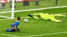 PARIS, FRANCE - JUNE 22: Arnor Ingvi Traustason of Iceland scores passed Robert Almer of Austria for his team's second goal during the UEFA EURO 2016 Group F match between Iceland and Austria at Stade de France on June 22, 2016 in Paris, France. (Photo by Clive Mason/Getty Images)