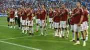 Hungary's players acknowledge supporters after the Euro 2016 group F football match between Hungary and Portugal at the Parc Olympique Lyonnais stadium in Decines-Charpieu, near Lyon, on June 22, 2016. / AFP / Joe KLAMAR (Photo credit should read JOE KLAMAR/AFP/Getty Images)