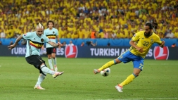 A view of the action between Sweden and Belgium during their UEFA Euro 2016 Group E match