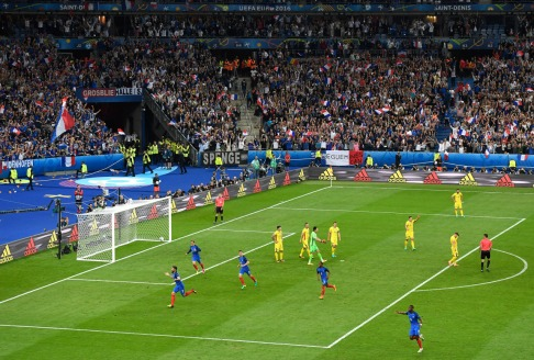 during the UEFA Euro 2016 Group A match between France and Romania at Stade de France on June 10, 2016 in Paris, France.