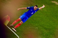 France's forward Dimitri Payet celebrates after scoring during the Euro 2016 group A football match between France and Albania at the Velodrome stadium in Marseille on June 15, 2016. / AFP / ANNE-CHRISTINE POUJOULAT (Photo credit should read ANNE-CHRISTINE POUJOULAT/AFP/Getty Images)