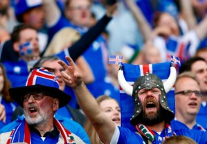 ST ETIENNE, FRANCE - JUNE 14: Fans of Iceland support their team during the EURO 2016 Group F football match between Portugal and Iceland at Geoffroy Guichard Stadium in St Etienne, France on June 14, 2016. (Photo by Evren Atalay/Anadolu Agency/Getty Images)