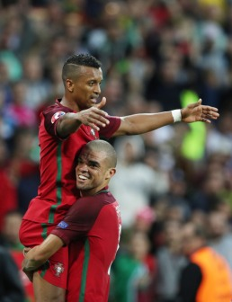 SAINT-ETIENNE, FRANCE - JUNE 14: Nani of Portugal celebrates scoring the opening goal during the UEFA EURO 2016 Group F match between Portugal and Iceland at Stade Geoffroy-Guichard on June 14, 2016 in Saint-Etienne, France. (Photo by Ian MacNicol/Getty Images)