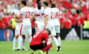 LENS, FRANCE - JUNE 11: Ermir Lenjani of Albania shows dejection after his team's 0-1 defeat in the UEFA EURO 2016 Group A match between Albania and Switzerland at Stade Bollaert-Delelis on June 11, 2016 in Lens, France. (Photo by Shaun Botterill/Getty Images)