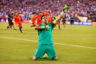 EAST RUTHERFORD, NJ - JUNE 26: Claudio Bravo #1 of Chile celebrates after defeating the Argentina to win the Copa America Centenario Championship match at MetLife Stadium on June 26, 2016 in East Rutherford, New Jersey. Chile defeated Argentina 4-2 in penalty kicks. (Photo by Mike Stobe/Getty Images)