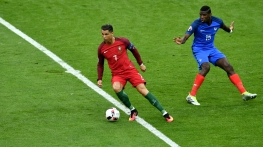 A view of the action between Portugal and France during their UEFA Euro 2016 Final