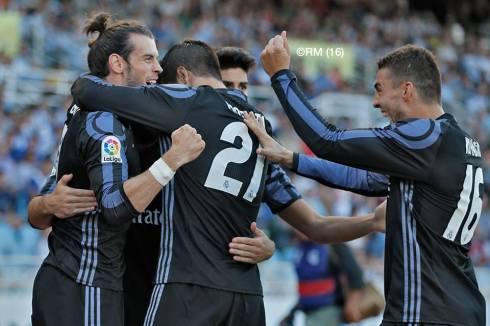 Celebrating Bale's goal