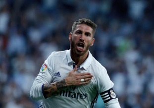 MADRID, SPAIN - SEPTEMBER 21:Sergio Ramos of Real Madrid celebrates a goal during the Spanish League 2016/17 match between Real Madrid and Villarreal, at Santiago Bernabeu Stadium in Madrid on September 21, 2016. (Photo by Guillermo Martinez/Corbis via Getty Images)