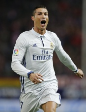 MADRID, SPAIN - NOVEMBER 19: Cristiano Ronaldo of Real Madrid celebrates after scoring the opening goal during the La Liga match between Club Atletico de Madrid and Real Madrid CF at Vicente Calderon Stadium on November 19, 2016 in Madrid, Spain. (Photo by Angel Martinez/Real Madrid via Getty Images)
